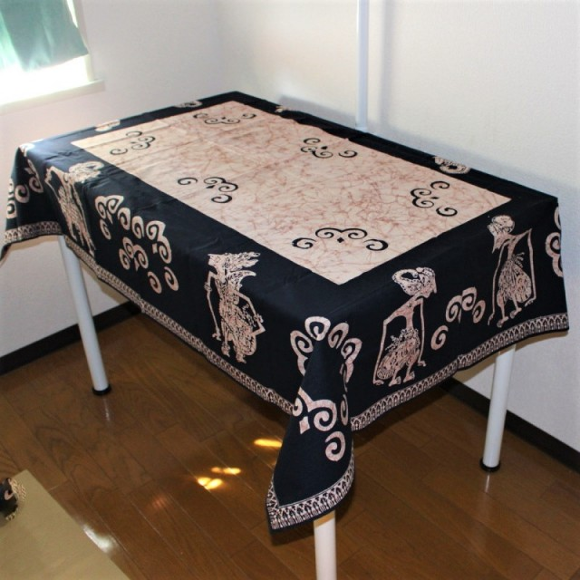 手描きバティックのテーブルクロス(ワヤン・クリ)ブラウン
