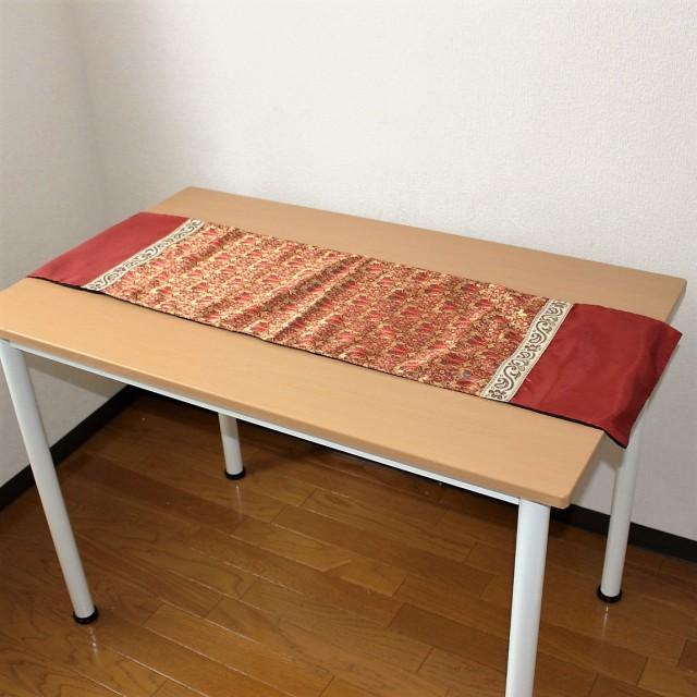 シルクのテーブルランナー(小・ブラウン)