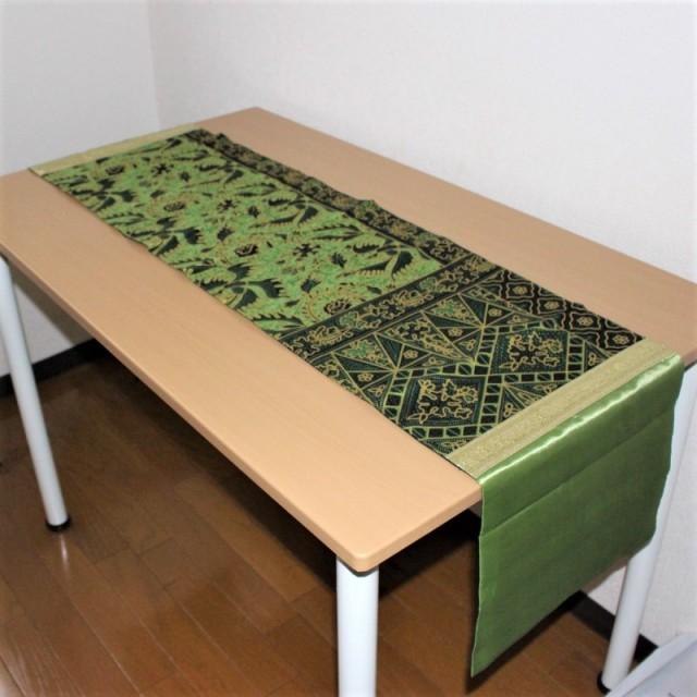 シルクのテーブルランナー(イエローグリーン)
