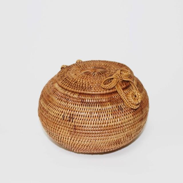 アタ製バスケット(フタ付ラウンド型)