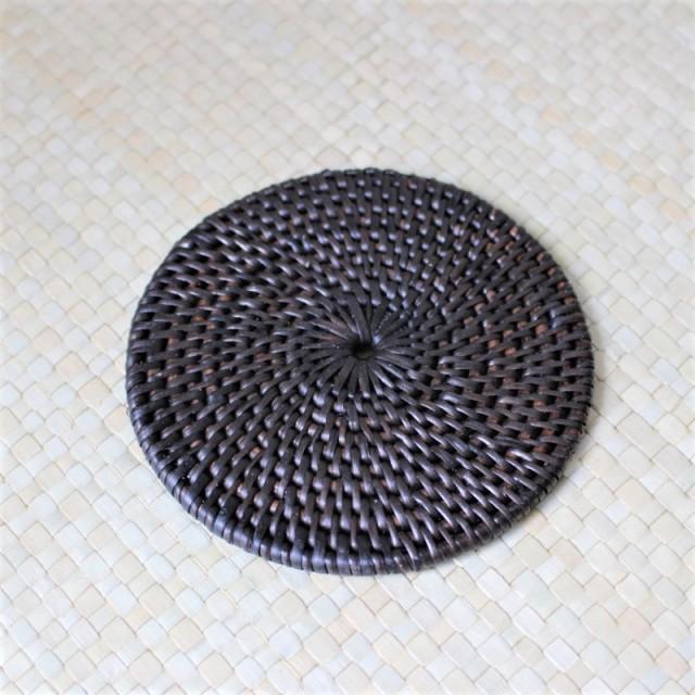 アタ製コースター(円形・ブラック)