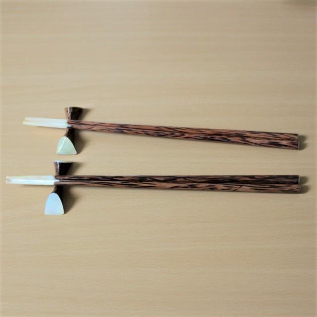箸と箸置きのセット(ウッドとシェル)