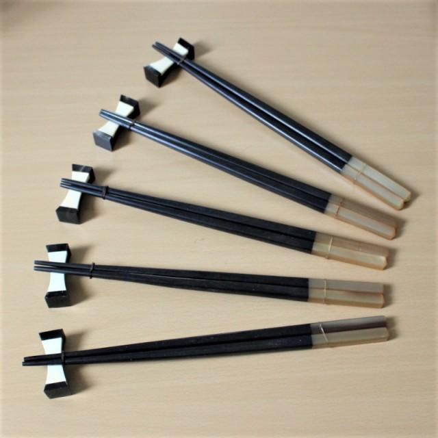 箸と箸置きのセット五人用(ウッドと水牛の角)
