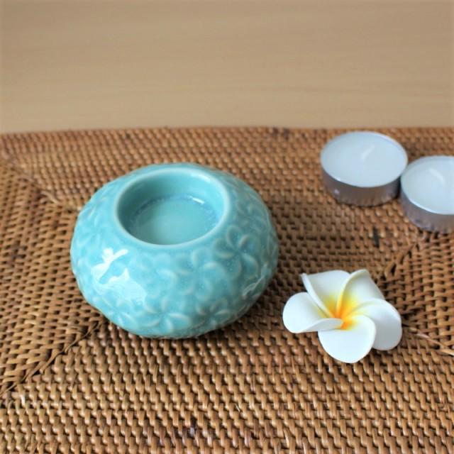 陶器のキャンドルホルダー(プルメリア)