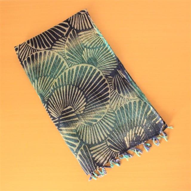 コットンのスカーフ(ブルー&ネイビー)
