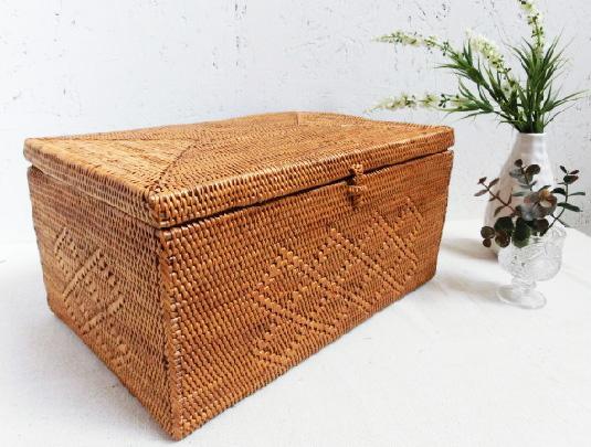 アタ製ボックス/菱形模様【30×20×高さ15cm】★大きめサイズ♪
