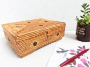 アタ製脚つきボックス【幅20cm】黒ドット模様★ジュエリーやポストカードケースに♪