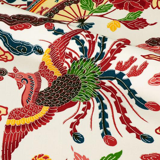 紅型(びんがた) 扇と鳳凰 生地巾38cm×49cm単位 切り売り