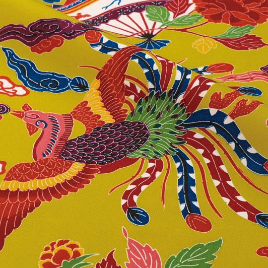 紅型(びんがた) 扇と鳳凰(藤黄) 生地巾38cm×49cm単位 切り売り