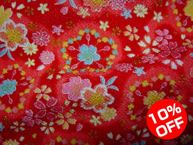 【10%OFF SALE!】京友禅 金彩ちりめん 櫻(赤) 10cm単位 切り売り
