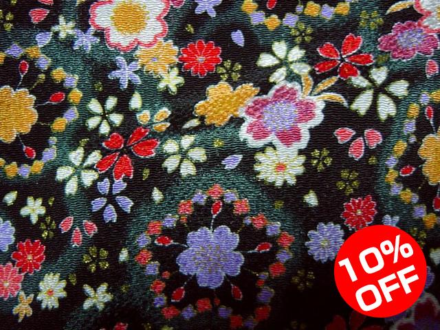 【10%OFF SALE!】京友禅 金彩ちりめん 櫻(黒) 10cm単位 切り売り
