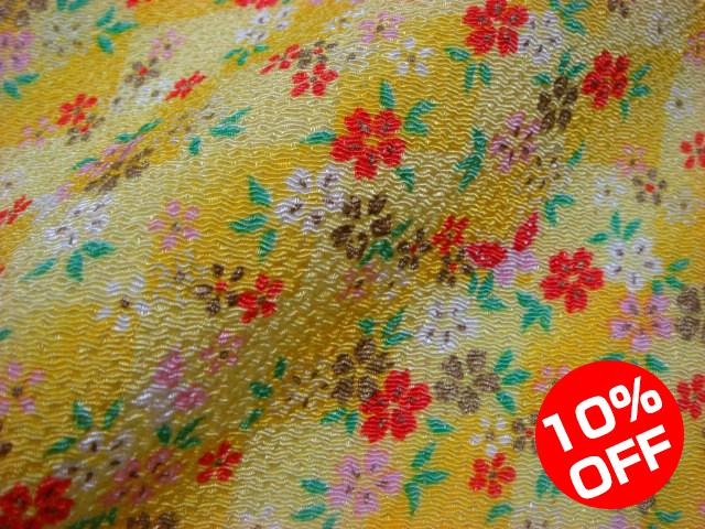 【10%OFF SALE!】京友禅 金彩ちりめん 黄地桜に蝶 10cm単位 切り売り