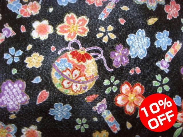 【10%OFF SALE!】京友禅 金彩ちりめん 手毬に人形桜(黒) 10cm単位 切り売り