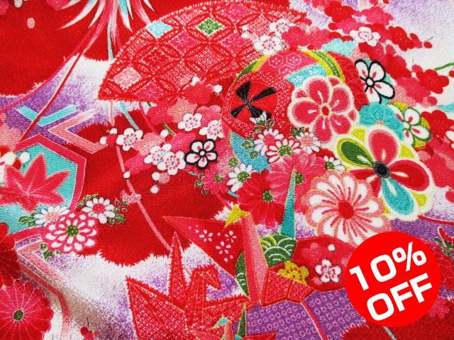 【10%OFF SALE!】友禅ちりめん 折鶴元禄文様(赤) 10cm単位 切り売り
