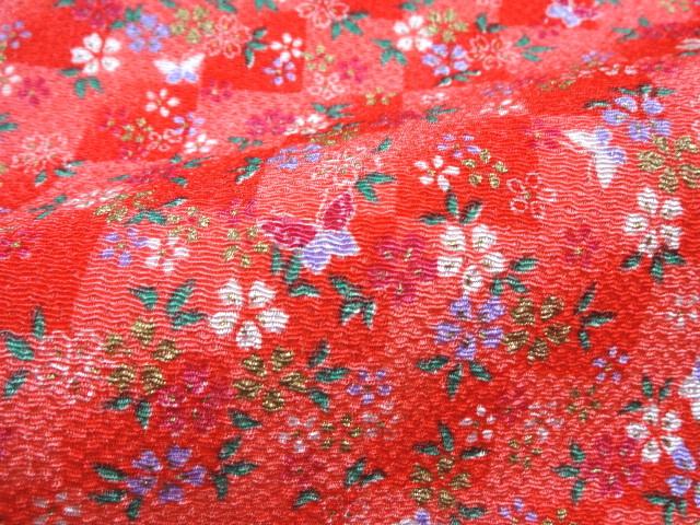 京友禅 金彩ちりめん 市松格子に桜(赤) (和布 和生地 和柄生地 和柄 和風)