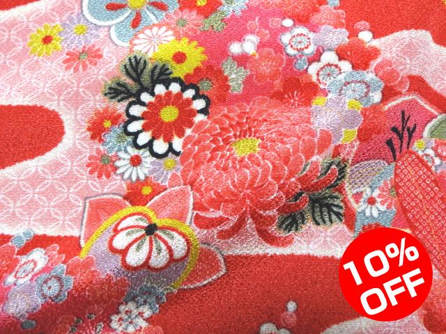 【10%OFF SALE!】友禅ちりめん 霞花丸文(赤) 10cm単位 切り売り
