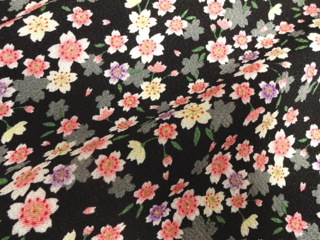 京友禅 金彩ちりめん 満開桜(黒) (和柄 和風 衣装 生地)
