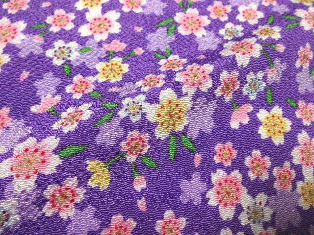 京友禅 金彩ちりめん 満開桜(紫) (和柄 和風 衣装 生地)