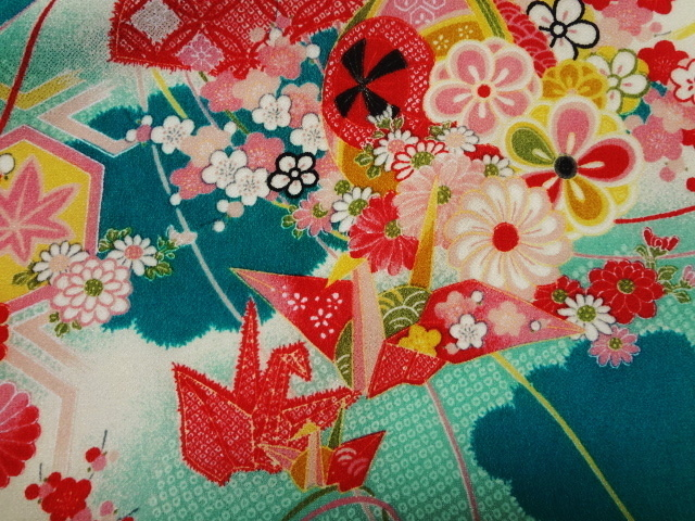京・一越ちりめん 折鶴 (新橋) 10cm単位 切り売り / 和柄 和風 衣装 生地 縮緬 つるし雛 つまみ細工