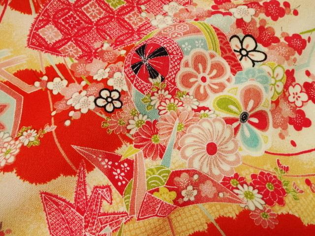 京・一越ちりめん 折鶴 (橙) 10cm単位 切り売り / 和柄 和風 衣装 生地 縮緬 つるし雛 つまみ細工