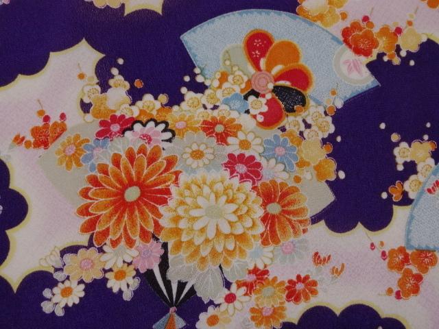 京・一越ちりめん 花扇 (紫) 10cm単位 切り売り / 和柄 和風 衣装 生地 縮緬 つるし雛 つまみ細工