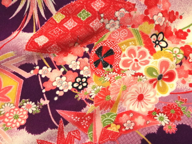 京・一越ちりめん 折鶴 (紫) 10cm単位 切り売り / 和柄 和風 衣装 生地 縮緬 つるし雛 つまみ細工