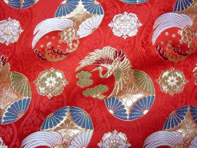 京都西陣織・金襴生地 花立涌地に鶴亀紋(赤) 10cm単位 切り売り