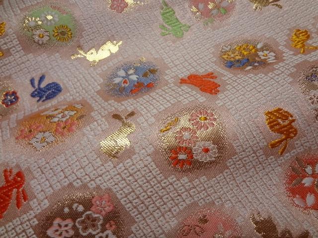 京西陣・金襴生地 花丸文にうさぎ (桃) 10cm単位 切り売り / 和柄 和風 衣装 生地
