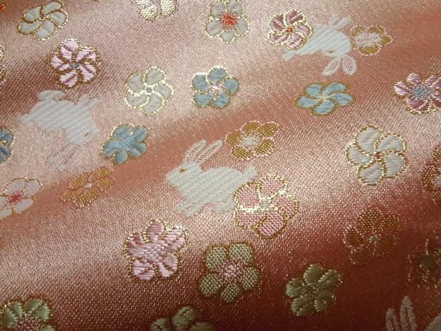 京西陣・金襴生地 うさぎに小花 (桃) 10cm単位 切り売り / 和柄 和風 衣装 生地