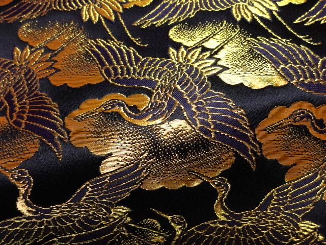 京西陣・金襴 生地 鶴 (艶紺)   (和柄 和風 衣装 生地)
