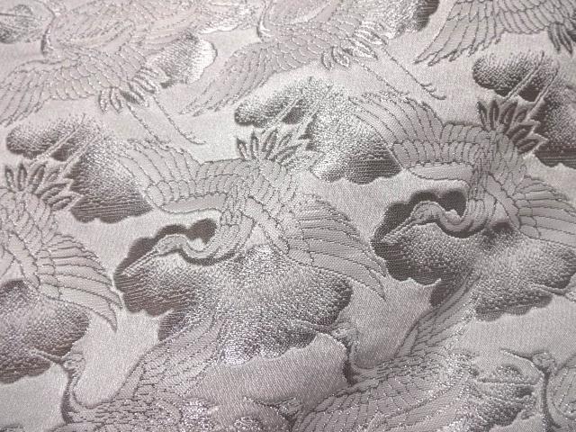京西陣・金襴 生地 鶴 (白・銀)   (和柄 和風 衣装 生地)
