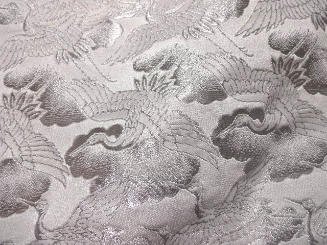 京西陣・金襴 生地 鶴 (白・銀)  10cm単位 切り売り / 和柄 和風 衣装 生地