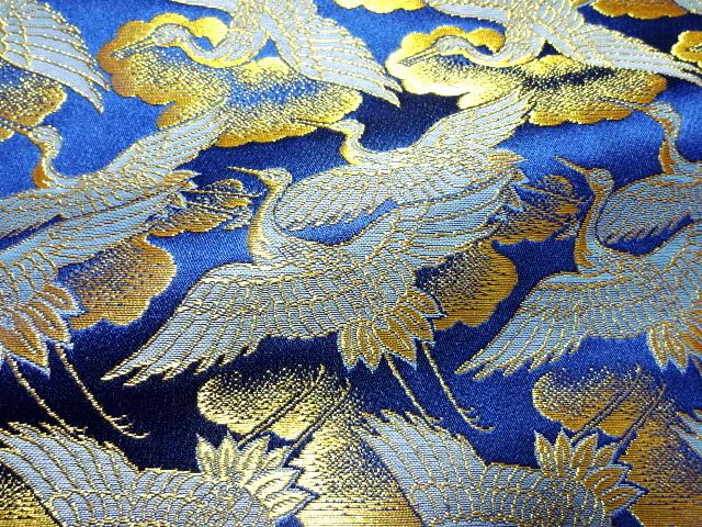 京西陣・金襴 生地 鶴 (青・金)  10cm単位 切り売り / 和柄 和風 衣装 生地