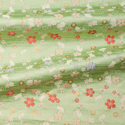 京都西陣織・金襴生地 桜とうさぎ(若葉) 10cm単位 切り売り