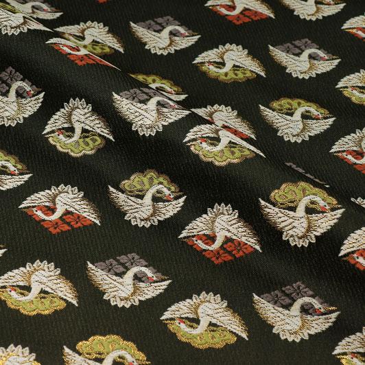 京都西陣織・金襴生地 花菱松鶴文(黒) 10cm単位 切り売り