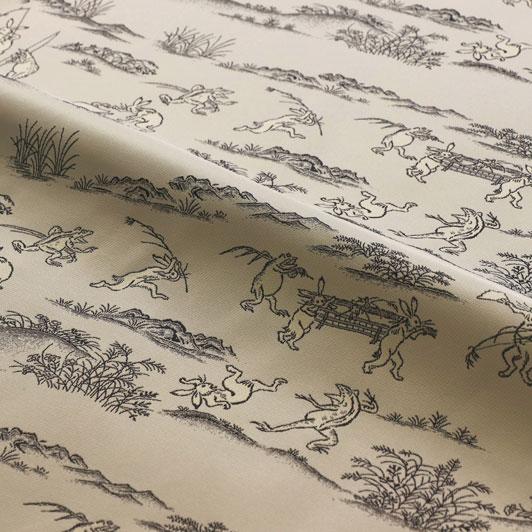 金襴 生地 鳥獣戯画(白)・横地 10cm単位 切り売り はぎれ 和風生地 和柄 布地