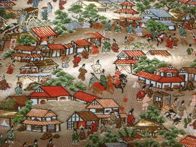 京西陣・金襴生地 洛中洛外図 (和柄 和風 衣装 生地)
