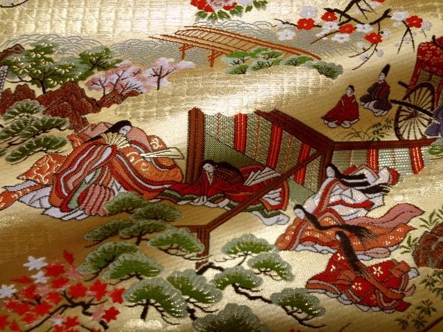 京都西陣織・金襴生地 源氏絵巻(巻の二) 10cm単位 切り売り