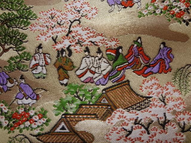 京都西陣織・金襴生地 源氏絵巻(巻の五) 10cm単位 切り売り