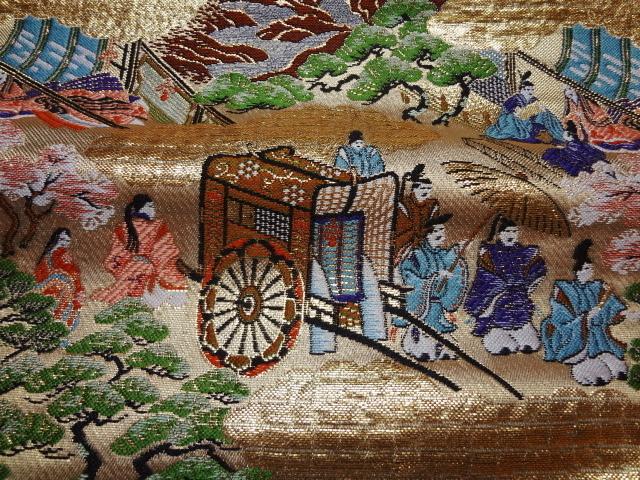 京都西陣織・金襴生地 源氏絵巻(巻の六) 10cm単位 切り売り