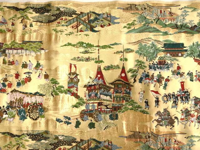 京西陣・金襴生地 都三大祭 巾38cm×長さ78cm単位 切り売り