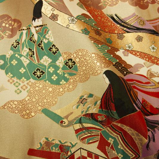 京都西陣織・金襴生地 源氏絵図 生地巾70cm×長さ50cm単位 切り売り