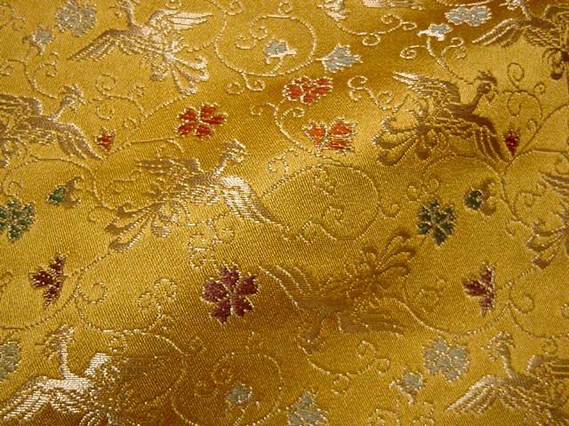 京都西陣織・金襴生地 鳳凰唐草(黄金色) 10cm単位 切り売り