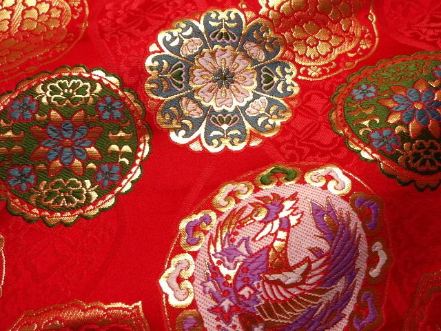 京西陣・金襴 生地 鏡鳳凰 (赤)  (和柄 和風 衣装 生地)