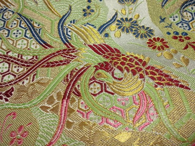 京西陣・金襴 生地 鳳凰雅錦(淡緑) (和布 布和柄 和風 生地 よさこい 舞台 衣装)