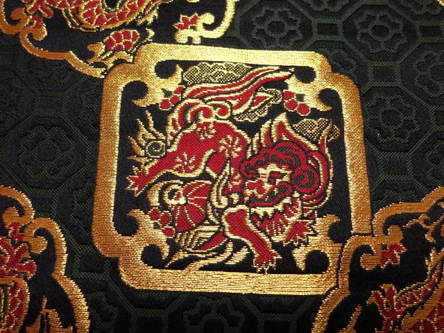 京西陣・金襴 生地 唐獅子と龍 10cm単位 切り売り