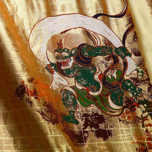京都西陣織・金襴 生地 風神雷神 大 生地巾38cm×長さ75cm単位 切り売り