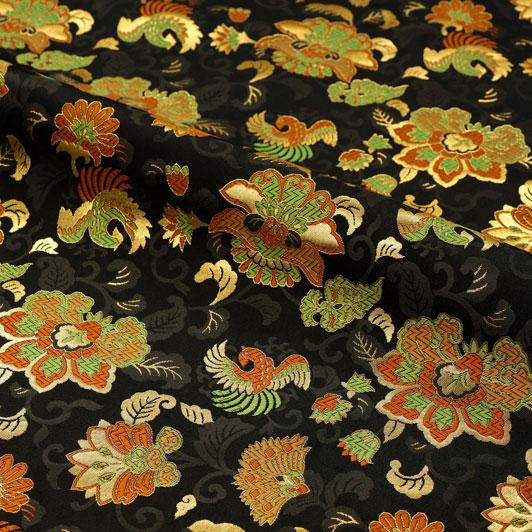 京都西陣織・金襴 生地 唐花と鳳凰(黒) 10cm単位 切り売り