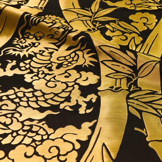 京都西陣織・金襴 生地 竹立涌大龍(黒) 生地巾72cm×長さ81cm単位 切り売り パネル柄 布地 はぎれ 和柄 生地 よさこい きんらん 金らん