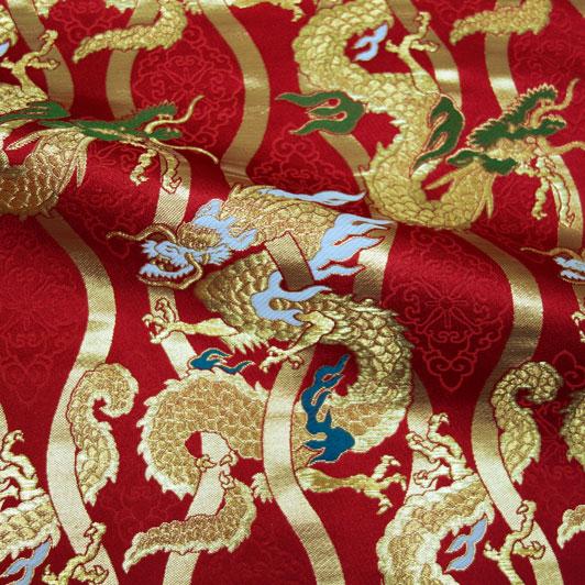 京都西陣織・金襴 生地 立涌に龍(赤) 10cm単位 切り売り